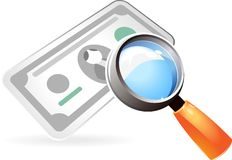Icon of currency under lens. Currency under magnifying glass. Vector illustration Stock Photography