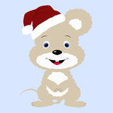 Icon cute baby Christmas mouse in Santa hat on a blue background Royalty Free Stock Photos