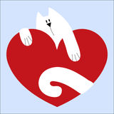 Icon cute cat on red heart on a blue background. template for we Stock Images