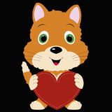 Icon cute kitten holding a red heart frame on black background. Stock Photography