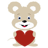 Icon cute  mouse holding a red heart frame on a white background Royalty Free Stock Images