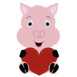 Icon cute pig holding a red heart frame on a white background. t Royalty Free Stock Photography