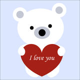 Icon cute white polar bear toy holding a red heart frame on a bl Royalty Free Stock Photography