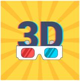 Icon of 3D and glasses with red and blue lenses on a yellow background with rays. vector illustration