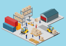 Icon 3d Isometric Process of the Warehouse. Warehouse interior, logisti and factory, warehouse building, warehouse exterior, business delivery, storage cargo Royalty Free Stock Photos