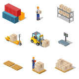 Icon 3d Isometric Process of the Warehouse Royalty Free Stock Photography