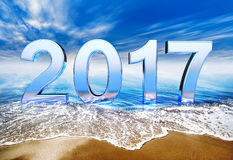 2017 icon. 3D rendering of a 2017 icon on the beach Vector Illustration
