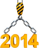 2014 icon. 3D rendering of a 2014 icon on a crane Royalty Free Stock Photography