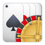 Icon deck of playing cards with roulette for Royalty Free Stock Image