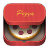 Icon pizza. Icon delivery pizza, and carton box royalty free illustration