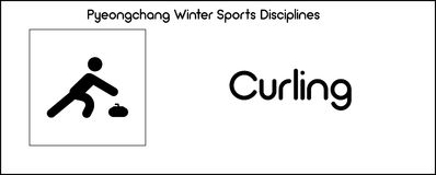 Icon depicting Curling discipline of winter sports games in Pyeo Stock Photos
