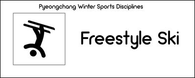 Icon depicting Freestyle Skiing discipline of winter sports game. Series of icons, depicting Freestyle Skiing discipline in winter sports competition held as Royalty Free Stock Photos