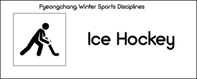Icon depicting Ice Hockey discipline of winter sports games in P Stock Photo