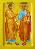 Icon. The icon depicts the holy Apostles Peter and Paul. I perform the work, Valeri Vdovin, Tamila Vdovina and Olga Zayferd - Family Art Workshop Royalty Free Stock Photography