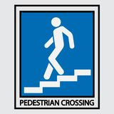 Icon descent up the stairs, signpost. Staircase icon, motion pointer, direction of travel, fully image royalty free illustration