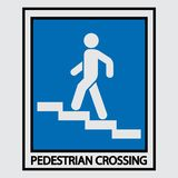 Icon descent up the stairs, signpost. Staircase icon, motion pointer, direction of travel, fully image stock illustration