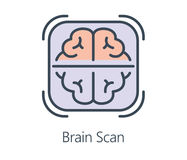 Icon design brain scan in flat line style. Symbol health check up and medical concept royalty free illustration