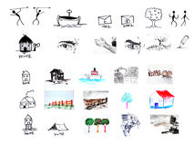 Icon and design elements. Handdrawn and painted Royalty Free Stock Images