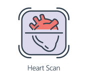Icon design heart scan in flat line style. Symbol about health check and medical concept Stock Illustration
