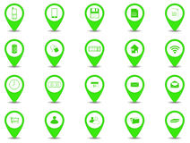 Icon design. Set of 20 icons in green button with shadow stock illustration