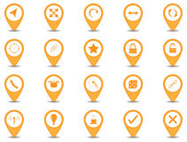 Icon design. Set of 20 icons in orange button with shadow stock illustration