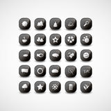 Icon Designs. Black and White Set of Glossy Web Icons in Freely Scalable & Editable Vector Format Stock Image