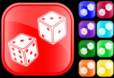 Icon of dice. On shiny square buttons Vector Illustration