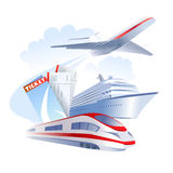 Icon with different travel transport Royalty Free Stock Image