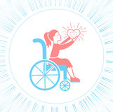 Icon disabled girl with a stroller. The concept of life and love people with disabilities Stock Image