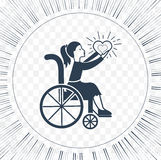 Icon disabled girl with a stroller. The concept of life and love people with disabilities Stock Photography