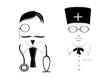 Icon doctor and nurse. Royalty Free Stock Photography