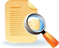 Icon of document and lens Stock Images