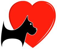 Icon with dog and heart Royalty Free Stock Images