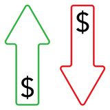 Icon of dollar growing and falling color stock illustration
