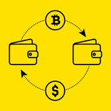 Icon dollar to bitcoin exchange of currency. Flat design. Vector illustration isolated a yellow background for website or app and royalty free stock image