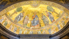 The icon on the dome with the image of Jesus Christ and the Apostles on a gold background in the catholic church cathedral basilic Royalty Free Stock Image