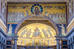 The icon on the dome with the image of Jesus Christ and the Apostles on a gold background in the catholic church cathedral basilic. A of Saint Paul in Rome stock photos
