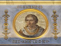 Pope Clement II. The icon on the dome with the image of Pope Clement II, born Suidger von Morsleben, was Pope from 25 December 1046 until his death in 1047 Stock Photography
