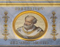 Pope Gregory V. The icon on the dome with the image of Pope Gregory V, born Bruno of Carinthia was Pope from 3 May 996 to his death in 999, basilica of Saint Royalty Free Stock Photos