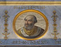 Pope John XVIII. The icon on the dome with the image of Pope John XVIII was Pope from January 1004 to his abdication in June 1009, basilica of Saint Paul Oute Royalty Free Stock Image