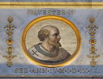 Pope Sylvester II. The icon on the dome with the image of Pope Sylvester II or Silvester II was Pope from 2 April 999 to his death in 1003, basilica of Saint Stock Images