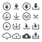 16 icon download round and flat line. On white background Vector Illustration