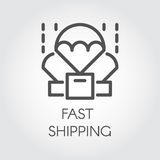 Icon drawn in linear style of parachuting box. Delivery and fast shipping concept Stock Photos
