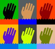 Icon of Drowning man's hand. Colorful icons of Drowning man's hand in water stock illustration