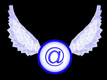 Icon e-mail. With wings from letters in a vector Stock Image