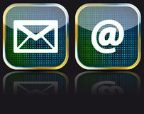 Icon e-mail glossy button,  illustration Royalty Free Stock Images