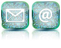 Icon e-mail glossy button,  illustration Royalty Free Stock Photos
