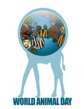 Icon Earth with animal textures Stock Photography