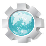 Icon of earth and gear. Illustration of the planet earth and gears, industrial concept royalty free illustration