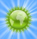 Icon earth with grass, environment symbol Stock Photos